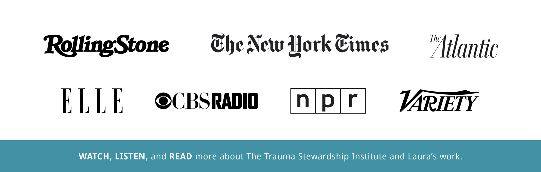Watch, Listen, and Read more about The Trauma Stewardship Institue and Laura's work in Rolling Stone, The New York Times, The Atlantic, Elle, CBS Radio, NPR, and Variety